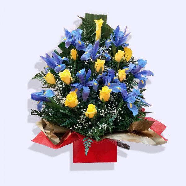 超过18枝花 (黄色玫瑰及配花2) 开业花盒