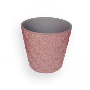 陶瓷花盘(粉红色, 直径=13.6cm, 高=12.8cm)