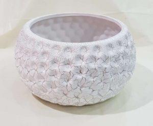 陶瓷花盘 (白色带金色花纹