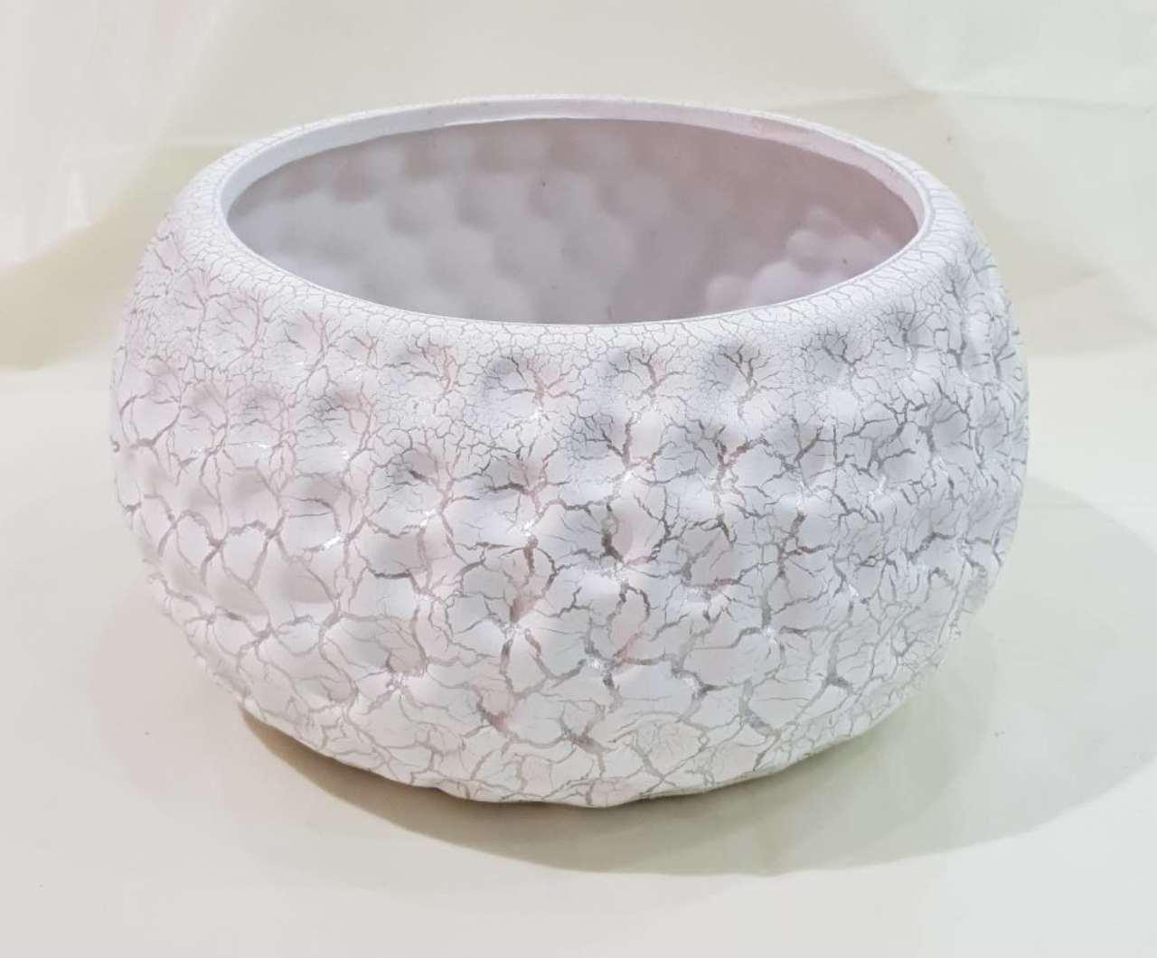 陶瓷花盘 (白色带金色花纹, 直径=21cm, 高度=11cm)