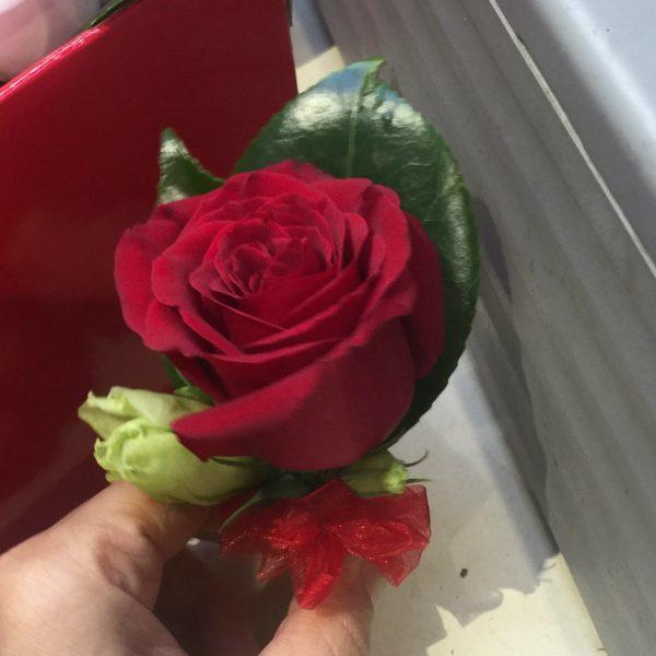 1朵红色玫瑰胸花