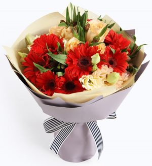 10 Stems Red Gerbra & 5 Stems Champagne Rose & 3 Stems Champagne Lisianthus & 5 Stems Alstoemeria