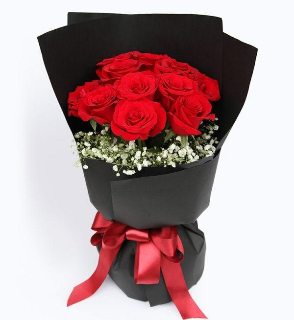 11枝红玫瑰配满天星/黑夜之光
