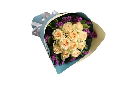 11 Stems Champagne Rose with Purple-red Statice