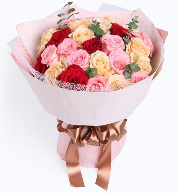 11 Stems Pink Rose & 13 Stems Champagne Rose & 5 Stems Red Rose