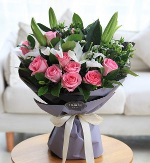 11 Stems Pink Rose & 2 Stems White Oriental Lily & 5 Stems Wite Acacia with Leaves