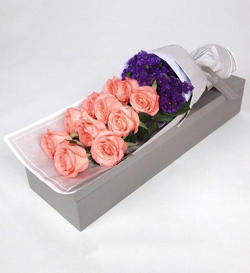 11 Stems Pink Rose with Dark Purple Statice