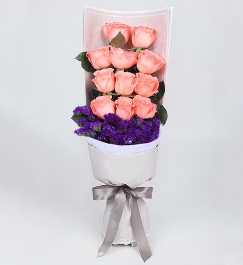 11 Stems Pink Rose with Dark Purple Statice