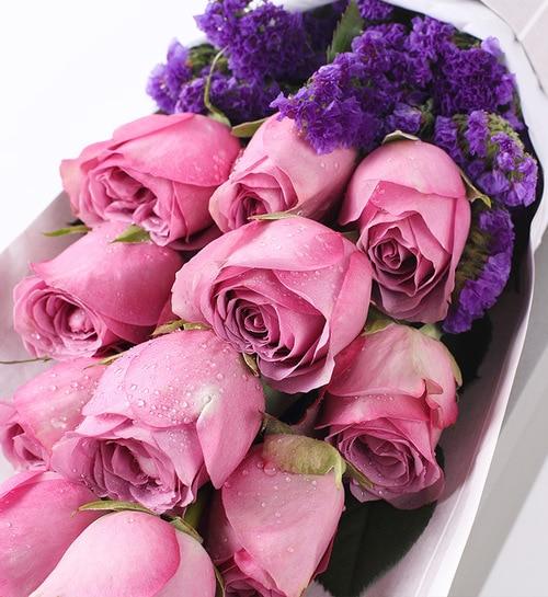 11 Stems Purple Rose 16.5*57cm Flower Box