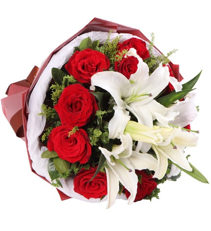 11 Stems Red Rose with 2 Stems White Oriental Lily