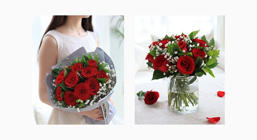 11 Stems Red Rose with Babysbreath