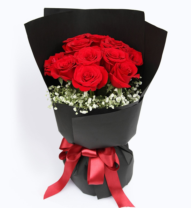 11 Stems Red Rose with Some Babysbreath