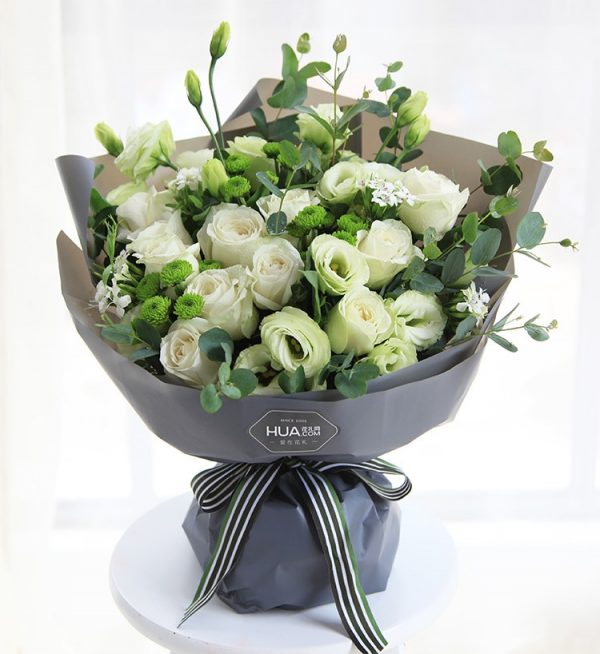 11 Stems White Rose & 5 Stems Green Lisianthus & 3 Stems White Chrysanthemum & 4 Stems White Dianthus with Leaves