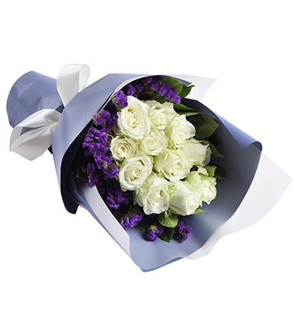 11 Stems White Rose with Dark Purple Statice