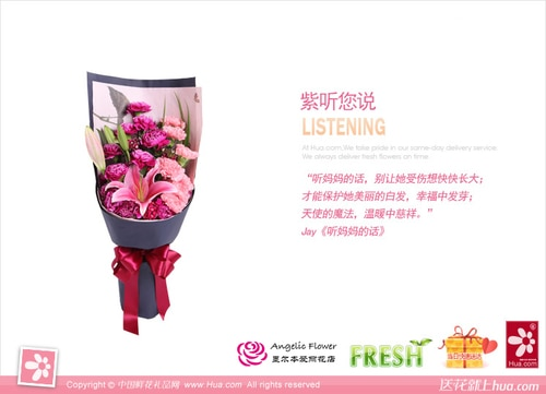 12 Stems Purple-red Carnation & 7 Stems Pink Carnation & 1 Stem Pink Oriental Lily with Leaves