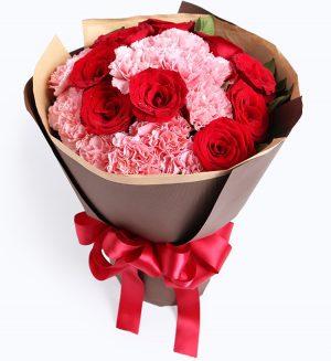 13枝粉红康乃馨9枝红玫瑰配叶子/你的笑靥