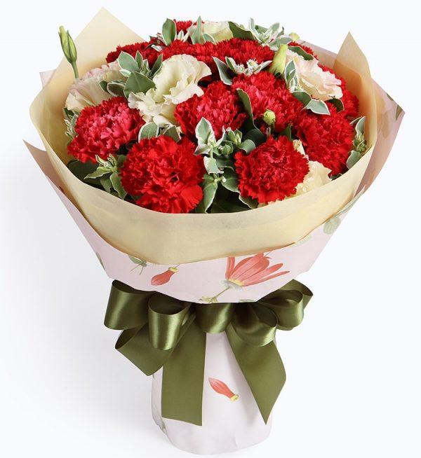 16枝红色康乃馨3枝香槟色洋桔梗配叶上花/妈妈的爱