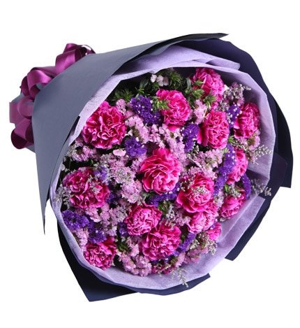 16 Stems Purple-red Carnation with Pink Statice & Limonium