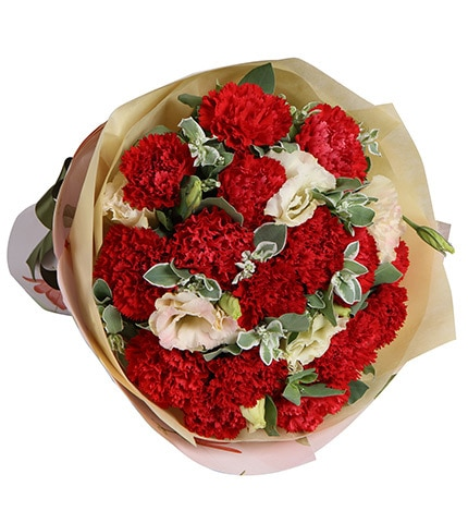16 Stems Red Carnation & 3 Champagne Lisianthus with Heiwingia