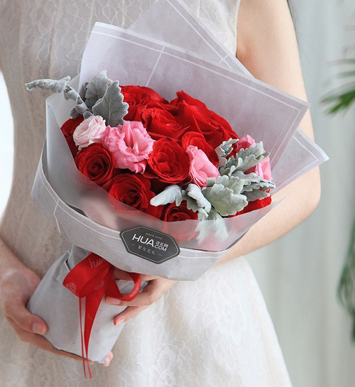 16 Stems Red Rose & 2 Stems Pink Lisianthus & 3 Stems Silver Leaf