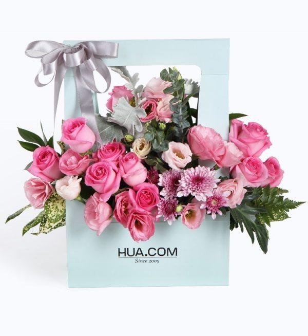 19枝粉玫瑰6枝粉色洋桔梗2枝粉色小雏菊配叶子等/夏日香气