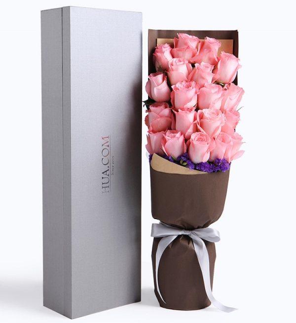 19枝粉红色玫瑰配深紫色勿忘我/暖暖
