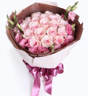 19枝粉红色玫瑰配粉红色洋桔梗/天使的心跳