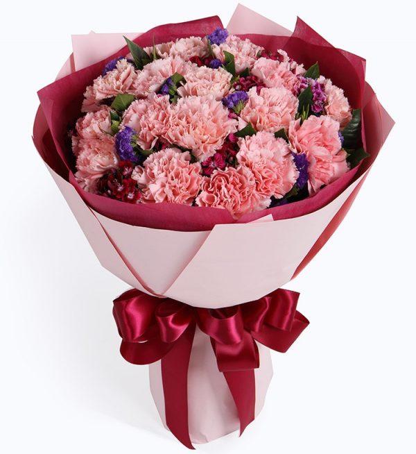 19枝粉色康乃馨加紫色勿忘我配叶子等/幸福绽放