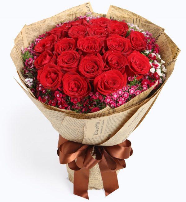 19枝红玫瑰配粉色配花/缘分天空