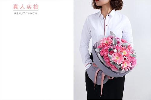 19 Stems Carnation & 5 Stems Pink Gerbra & 3 Pink Chrysanthemum with Leaves