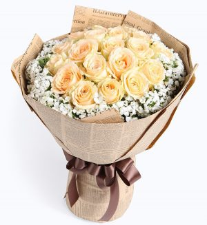 19 Stems Champagne Rose Withbabysbreath