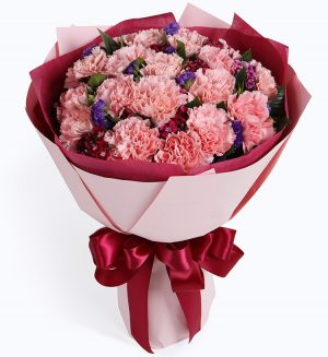 19 Stems Pink Carnation & Purple Statice with Leaves