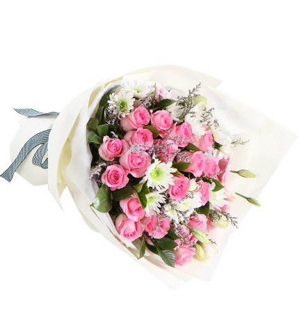 19 Stems Pink Rose & 2 Stems Pink Lisianthus & 4 Stems White Chrysanthemum with Limonium