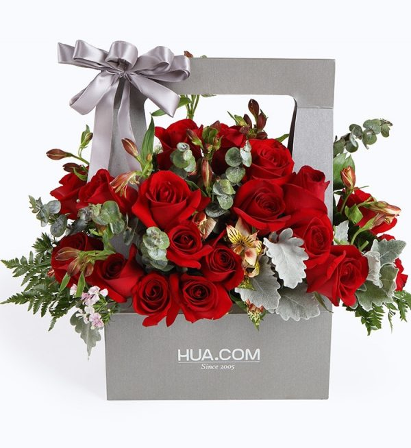 19 Stems Red Rose & 8 Stems Red Altroemeria with Leaves