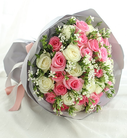 20 Stems Pink Rose & 13 Stems White Rose with White Acacia