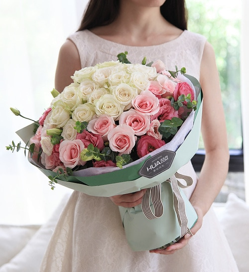 22 Stems White Rose & 14 Stems Pink Rose & 5 Stems Pink Lisianthus