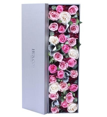 24枝粉红玫瑰5枝白玫瑰配叶子/伊人如梦