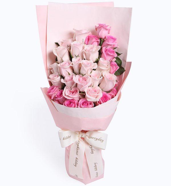 29枝粉红玫瑰/心有灵犀