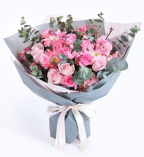 29枝粉红玫瑰5枝粉红扶郎配叶子等/好幸运