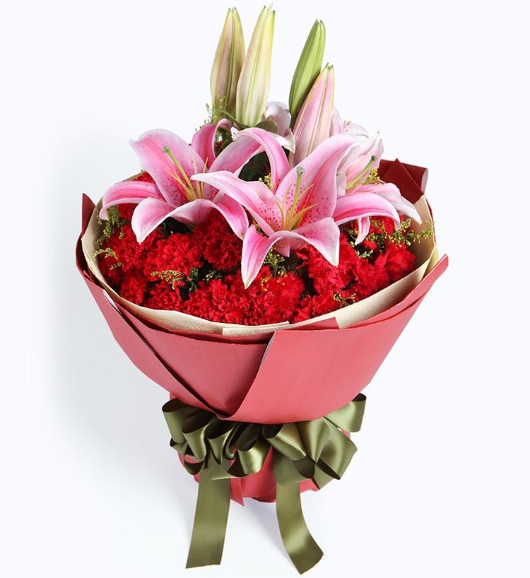 29枝红康乃馨2枝粉红百合/感激