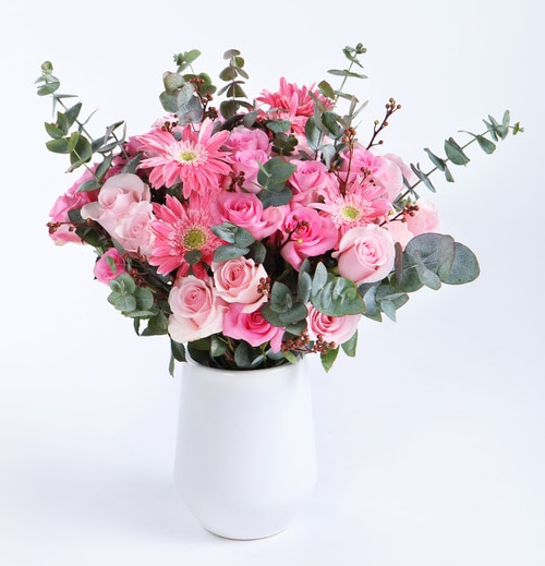 29 Stems Pink Rose & 5 Stems Pink Gerbra with Lesves