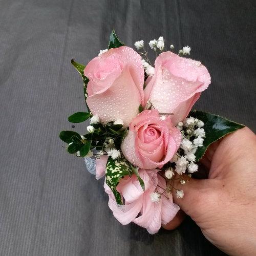 3 Pink Rose Corsage