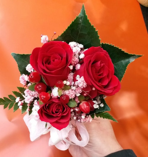 3 Red Rose with Berry Corsage