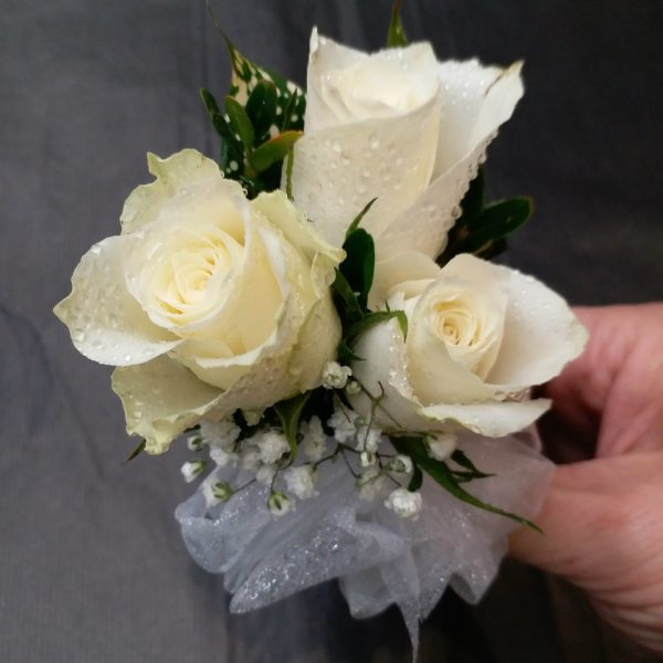 3 White Rose Corsage