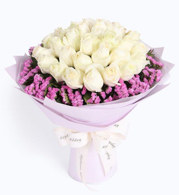 33枝白玫瑰配浅紫色勿忘我/纯美恋人
