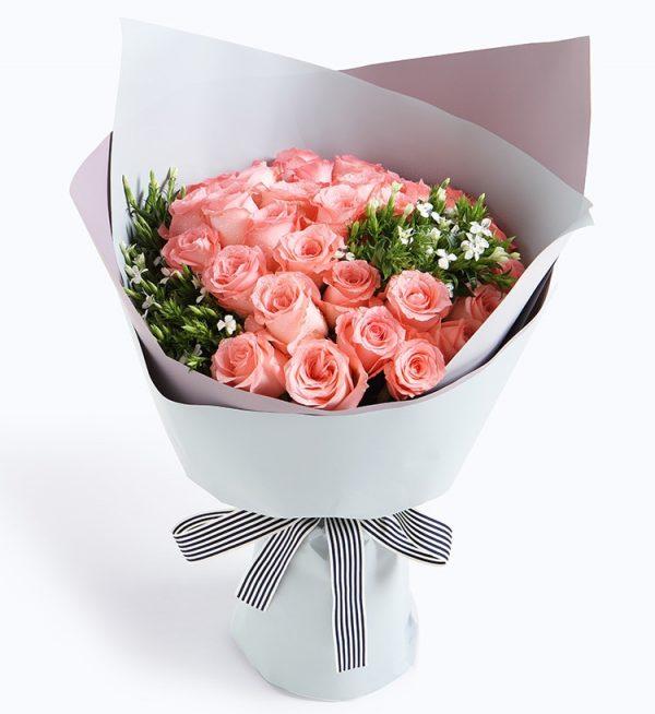 33枝粉玫瑰5枝白色配花/淳香