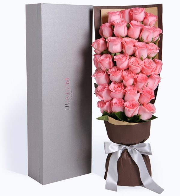 33枝粉红色玫瑰配叶子等/和青春跳舞