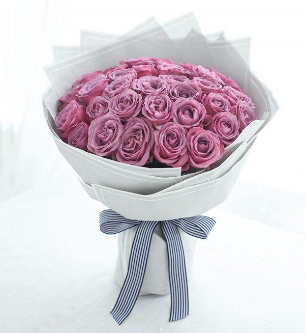 33枝紫色玫瑰/相思扣