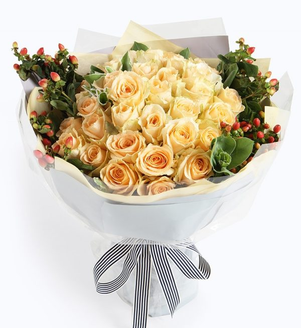 33 Stems Champagne Rose & 3 Stems Berry