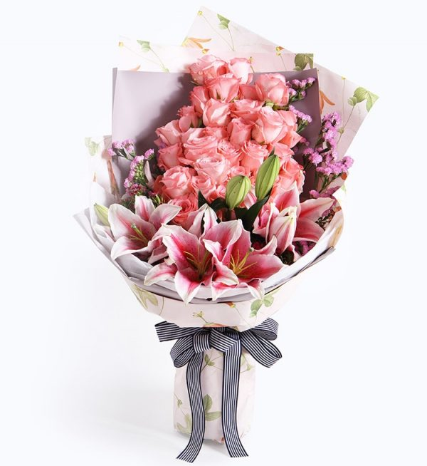 33 Stems Pink Rose & 3 Pink Oriental Lily with Light Purple Statice